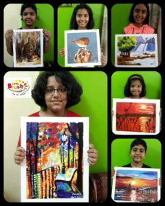 Canvas painting by our students during Art Camp